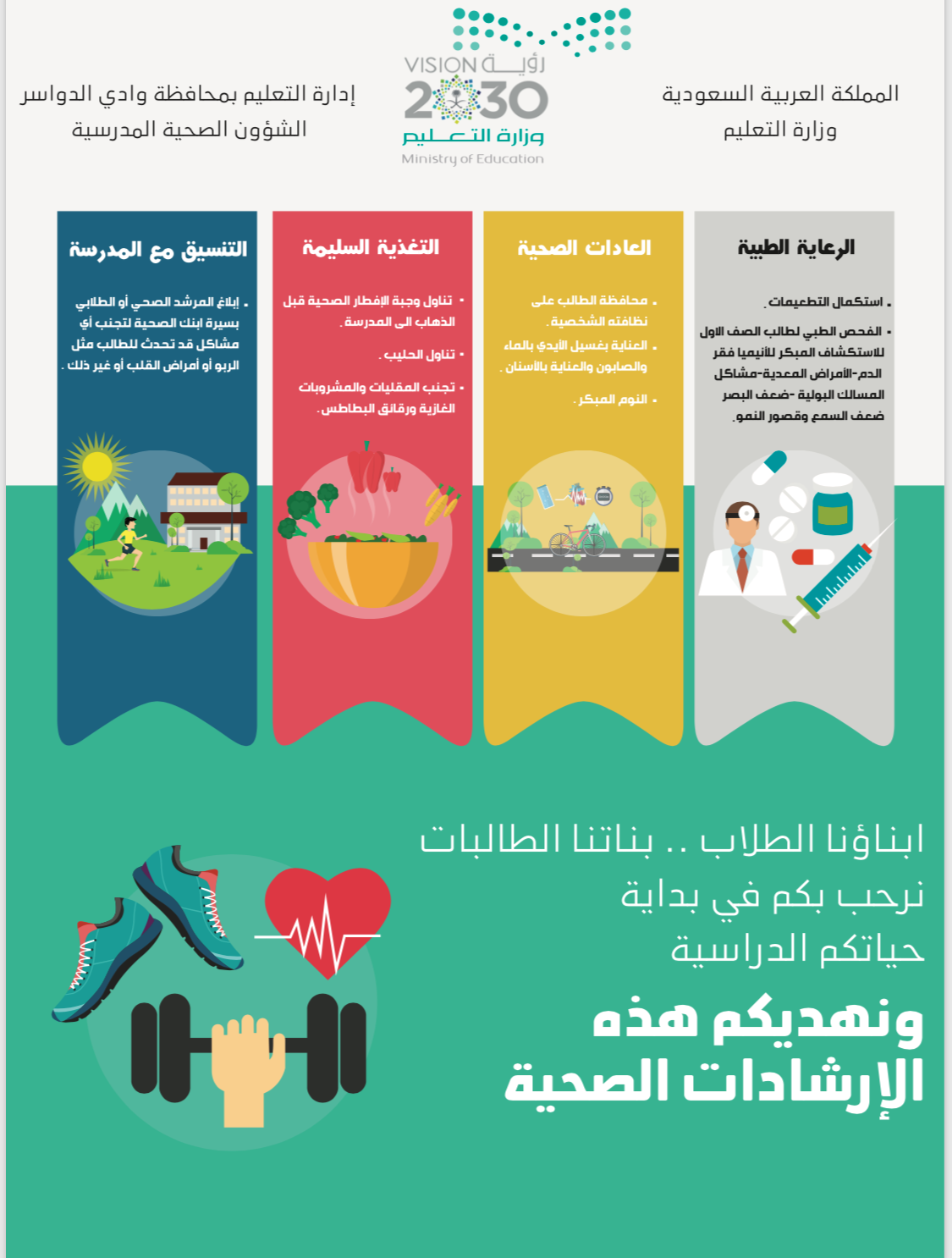 الصحة المدرسية تطلق برنامج معلومات صحية لكل طالب وطالب